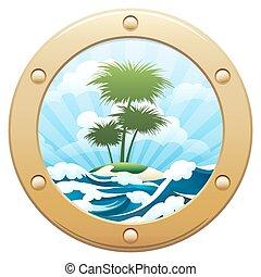 Palm Island - Ship porthole looking out to a tropical...