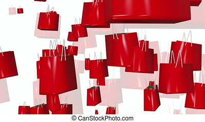 Shopping bags in red on white