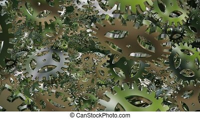 Abstract metal green rotating gears