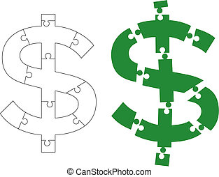 Dollar sign puzzle - Vector illustration of dollar sign...