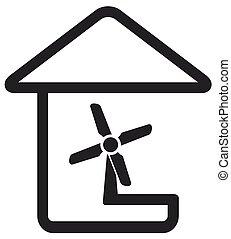 fan in home silhouette - black symbol in line style with fan...
