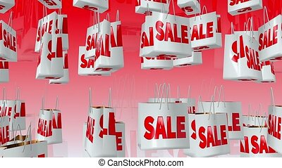 Sale and percent inscription on shopping bag on red
