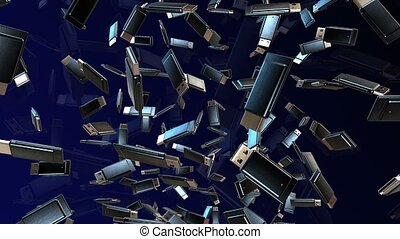 Abstract Usb flash drives in black