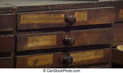 The file cabinet with labels on it. It is an old vintage...