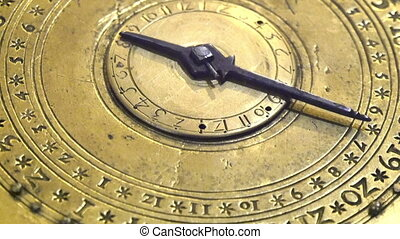 An ancient clock in gold plate