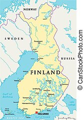 Finland Political Map with capital Helsinki, national...
