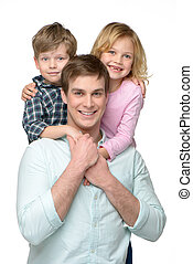 Happy smiling young father with his two kids - Cheerful...