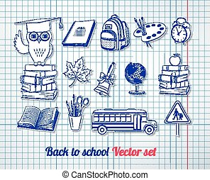 Back to school vector set with checkered notebook paper...