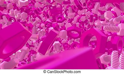 Abstract plastic bolts and nuts