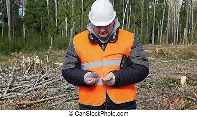 Lumberjack with euro banknotes in forest