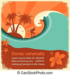 Surfer and sea wave on old poster background for text