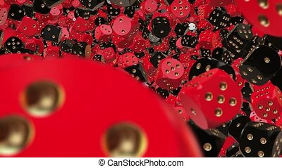 Dice in red and black colors