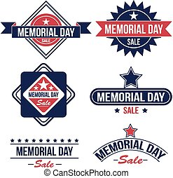 Memorial day sale badges - Vector set of Memorial day sale...