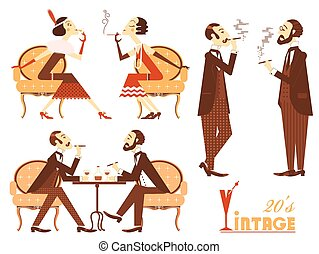 Vector vintage people isolated on white for design - Vintage...