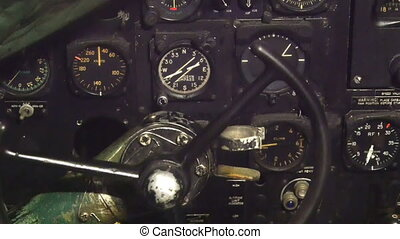 The pilots dashboard of an airplane Where there are meters...