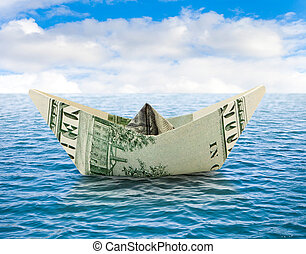 Ship from money on water - Business concepts - ship from...