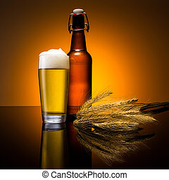 beer glass with bottle and corn - A cold beer glass with...