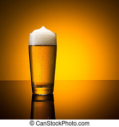 cold beer glass with dew drops - A glass of german beer with...