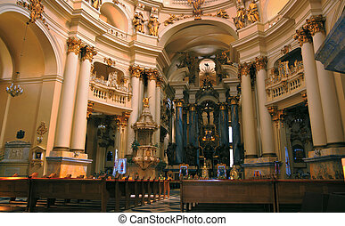 Interior of the Dominican church in Lviv, Western Ukraine
