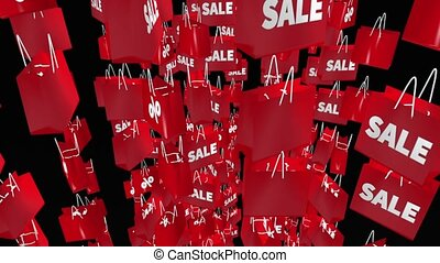 Red shopping bags with sale