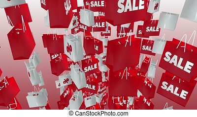 White and red shopping bags with