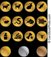Pet Icon Set Gold isolated on a black background.