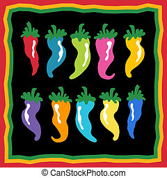 chili pepper icon set with colorful group of cartoon spice...