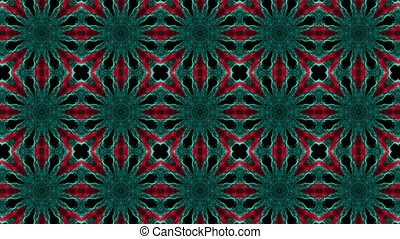 Abstract mosaic in red,green on black