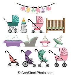 Baby shower design over white background, vector...