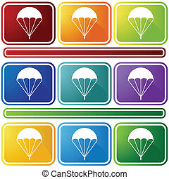 parachute icon bevel isolated on a white background