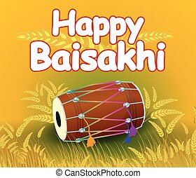 Happy Baisakh - Sikh doing Bhangra, folk dance of Punjab,...