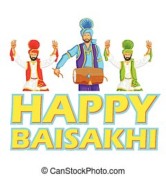Sikh doing Bhangra, folk dance of Punjab, India for Happy...