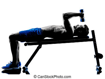man exercising fitness weights Bench Press exercises...