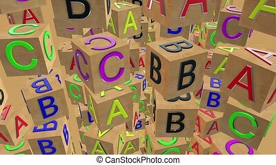Abstract flying wooden alphabet cubes