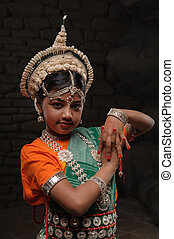 pretty girl in traditional costume - Cute little Indian girl...