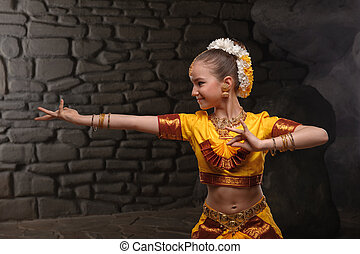 pretty girl in traditional costume - little girl dressed in...