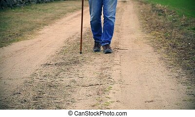 Man with walking stick on the rural