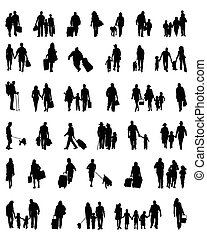 people which walk - Silhouettes of people which walk, vector