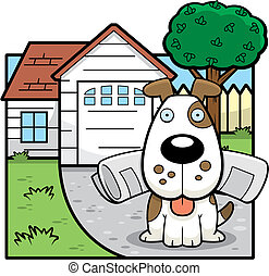 Dog House - A cartoon dog at a house.