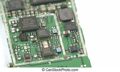 Close up look of the chips from a USB stick Seen are small...