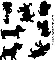 Dog Silhouette - A variety of cartoon dog silhouettes