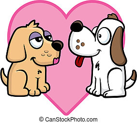 Puppy Love - Two cartoon dogs in love.