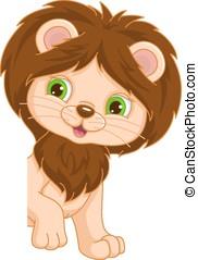 Lion Place Card - Little cartoon lion cub for Place Card