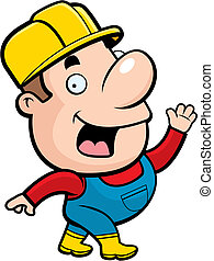 Construction Worker - A cartoon construction worker