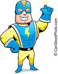 Superhero Smiling - A cartoon superhero smiling