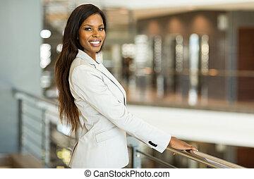 black business woman - portrait of pretty black business...