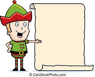 Elf List - A cartoon elf with a list.