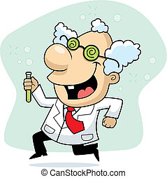 Mad Scientist - A cartoon mad scientist running.