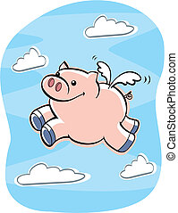 Pigs Fly - A cartoon pig flying.
