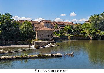 Little mill on the Garonne river in Saint Martory in France